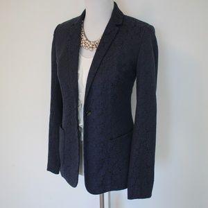 TAHARI Size 6 Blue Black Suit Jacket Blazer